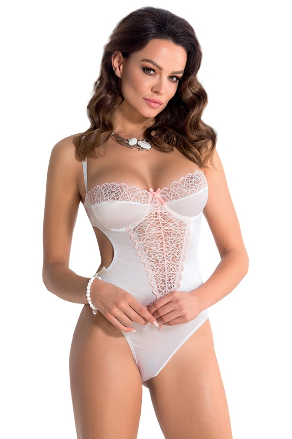 Body sexy blanc et rose