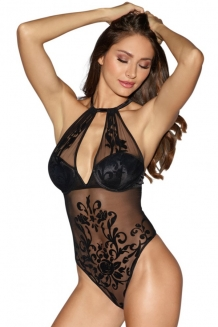Body string noir maille transparente