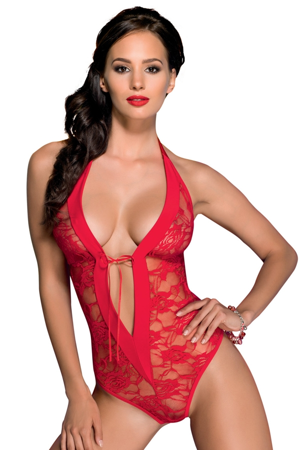 Body sexy rouge à dentelle Rayen