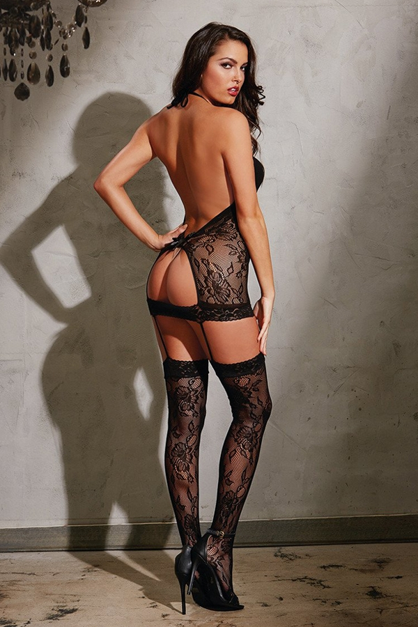 Bodystocking dentelle florale
