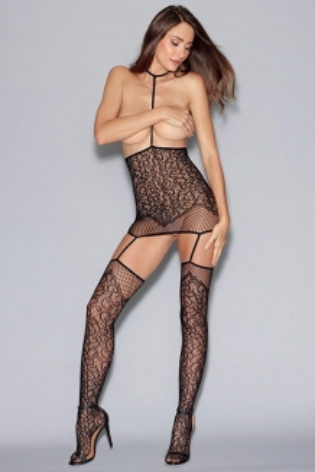 Bodystocking noir résille motifs effet ensemble sexy