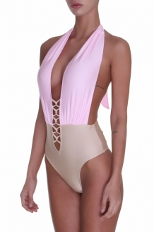 Maillot sexy taupe et rose